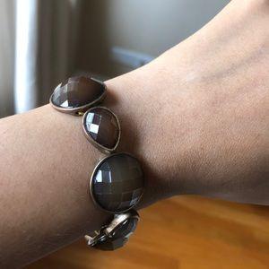 Stretch brown/topaz artificial gemstone bracelet